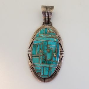 Jerry T. Nelson Sterling Mosaic Turquoise Pendant